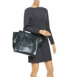 Celine Dark Green Leather Mini Luggage Tote 244648
