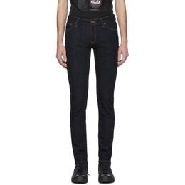 Nudie Jeans Blue Skinny Lin Dry Deep Orange Jeans 201078M18603113GB
