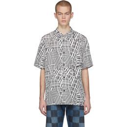 Alexander Wang Black and White Silk Logo Short Sleeve Shirt 201187M19201202GB