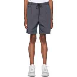 John Elliott Navy CAT Edition Iridescent Nylon Running Shorts 192761M19301505GB