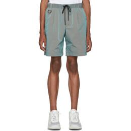 John Elliott Green CAT Edition Iridescent Nylon Running Shorts 192761M19301405GB