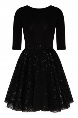 Черное мини-платье с кружевным подолом Maje 888166777