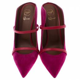 Malone Souliers Pink Suede And Red Leather Trim Maureen Pointed Toe Mules Size 40 245865