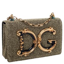 Dolce&Gabbana Gold Metallic Synthetic Fabric DG Girls Chain Evening Bag 246269