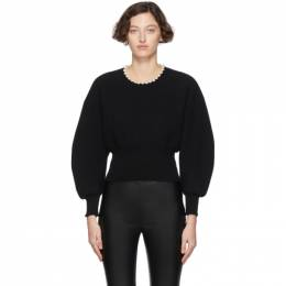 Alexander Wang Black Wool Pearl Necklace Pullover 201187F09623403GB