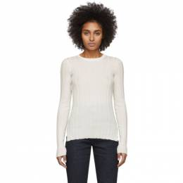 Helmut Lang White Rib Crewneck Sweater 201154F09604701GB