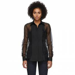 Helmut Lang Black Sheer Tux Shirt 201154F10900303GB