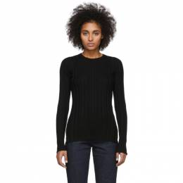 Helmut Lang Black Rib Crewneck Sweater 201154F09604603GB