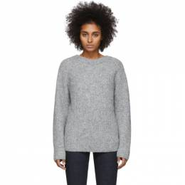 Helmut Lang Grey Wool and Alpaca Ghost Sweater 201154F09604501GB