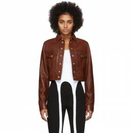 Helmut Lang Brown Leather Fem Littler Trucker Jacket 201154F06402802GB