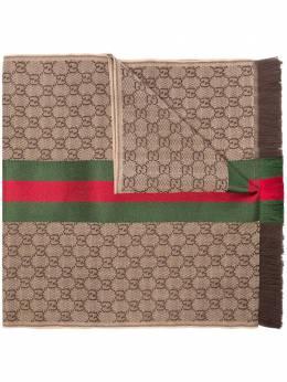 Gucci шарф жаккардовой вязки с отделкой Web 1473514G704