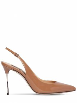 90mm Patent Leather Sling Back Pumps Sergio Rossi 71IM1G009-MjIyMg2