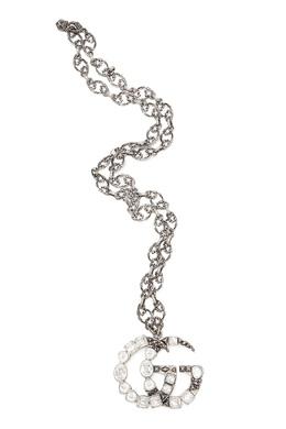 Серебристое ожерелье с монограммой Gucci 470164778