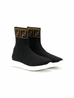 Fendi Kids кроссовки-носки Double F JMR322A62L
