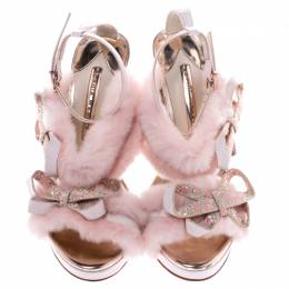 Sophia Webster Pink Faux Fur And Leather Bella Bow Embellished Ankle Strap Sandals Size 38.5 247049