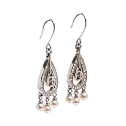 Aigner Silver Tone Faux Pearl Crystal Embellished Hoop Earrings