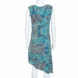 Zadig & Voltaire Blue Root Print Raw Edge Detail Dress M 247600