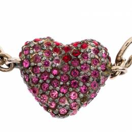 Dior Silver Tone Pink & Red Crystal Studded Heart Charm Bracelet