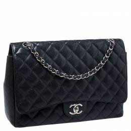 Chanel Black Quilted Caviar Leather Maxi Classic Double Flap Bag 246669