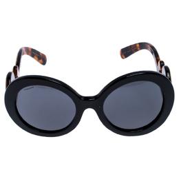 Prada Black/Brown Tortoise SPR 08T Minimal Baroque Oval Sunglasses