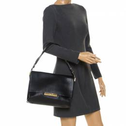 Celine Black Calfskin Leather Blade Flap Bag 246679