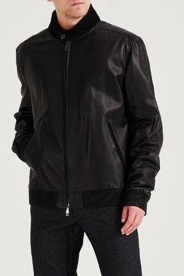 Черная кожаная куртка с замшевой отделкой Brioni 1670166942