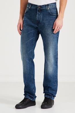 Прямые синие джинсы с выбеленными коленями Kiton 1671166939