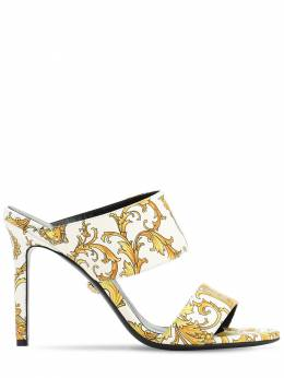 95mm Tribute Printed Leather Sandals Versace 71IWTY006-REI1T0g1