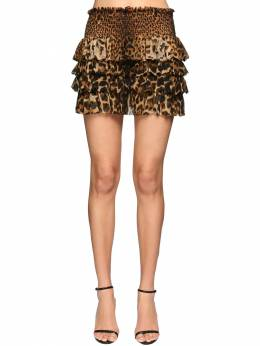 Ruffled Leopard Print Silk Mini Skirt Saint Laurent 71IWJA009-OTY2NQ2