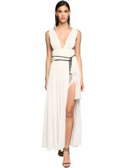 Belted Silk Georgette Long Dress Saint Laurent 71IWJA008-OTYwMQ2