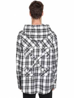 Over Hooded Check Cotton Blend Shirt Off-White 71ILFA037-MDEwMA2