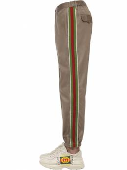 Cotton Drill Pants W/ Knit Side Bands Gucci 71IH0K060-MjgyMQ2