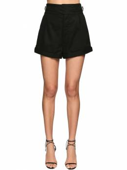High Waist Cotton Gabardine Mini Shorts Saint Laurent 71IA8C058-MTAwMA2