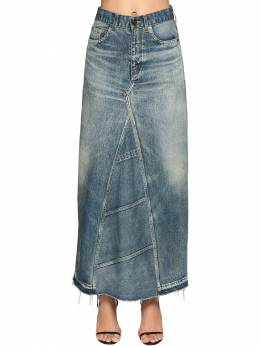 Cotton Denim Long Skirt Saint Laurent 71IA8C029-NDk3Nw2