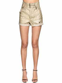 High Waist Waxed Denim Shorts Saint Laurent 71IA8C027-MjY3Nw2