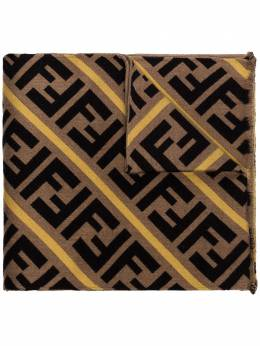 Fendi brown and yellow striped logo wool and silk blend scarf FXS124AA12