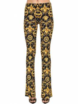 Flared Print Stretch Jersey Pants Versace 71IA86042-QTc5MDA1