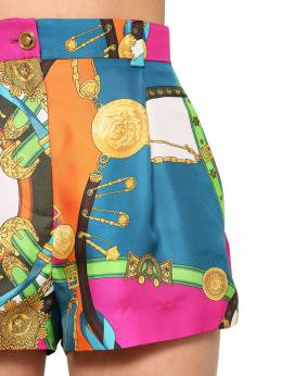 High Waist Printed Silk Twill Shorts Versace 71IA86041-QTcyMzA1