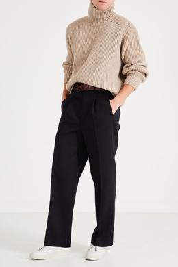 Темно-синие брюки из шерсти Ami 1376166699