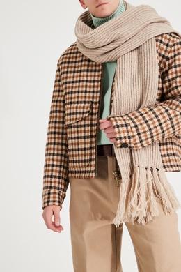 Бежевый шарф с бахромой Ami 1376166693