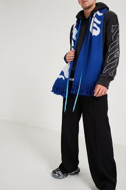 Синий шарф с белым волнистым узором Off-White 2202166891
