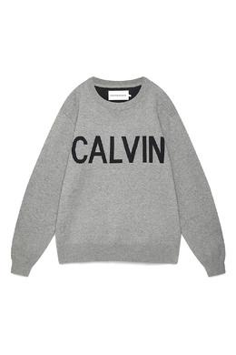Серый свитшот с логотипом Calvin Klein Jeans 2777167396