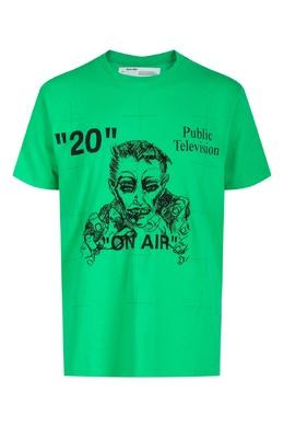 Зеленая футболка с принтом Off-White 2202167497
