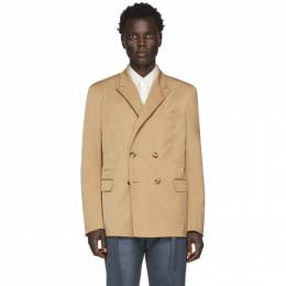 Valentino Tan Double-Breasted Blazer 192476M19500102GB