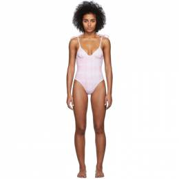 Solid And Striped Pink and White Tie-Dye The Olympia One-Piece Swimsuit 201877F10301403GB