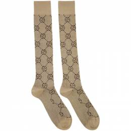 Gucci Beige and Brown GG Supreme Socks 201451F07604002GB