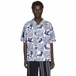 Loewe Blue and White William De Morgan Animal Print Short Sleeve Shirt 201677M19201705GB