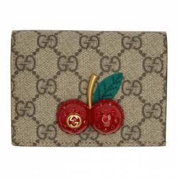 Gucci Beige GG Supreme Cherries Wallet 201451F03710301GB