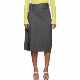 Rokh Grey Wool Herringbone Skirt 192151F09200404GB