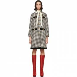 Gucci Black and Off-White Wool Houndstooth Coat 192451F05900703GB